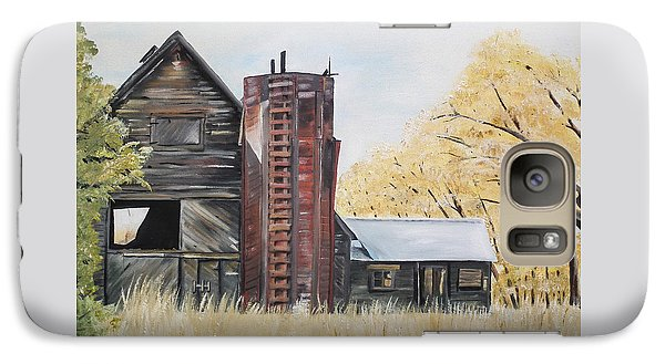 Galaxy Case featuring the painting Golden Aged Barn -washington - Red Silo  by Jan Dappen