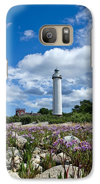 Galaxy Case featuring the photograph Summer Flowers At Lighthouse by Kennerth and Birgitta Kullman