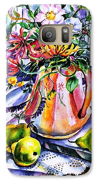 Galaxy Case featuring the painting Irish Summer  Wild Flowers - Dog Roses-buttercups-honeysuckle -purple Vetch  by Trudi Doyle