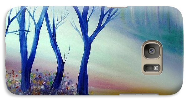 Galaxy Case featuring the painting Sun Ray In Blue  by Lilia D