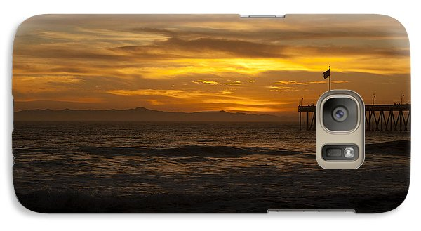 Galaxy Case featuring the photograph Sun Setting Behind Santa Cruz With Ventura Pier 01-10-2010 by Ian Donley