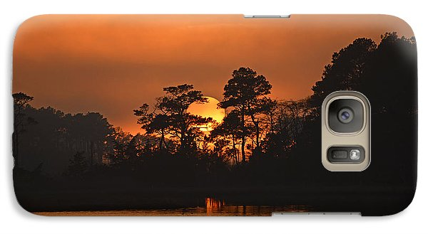 Galaxy Case featuring the photograph Sun Setting In Trees by Bill Swartwout