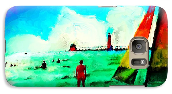 Galaxy Case featuring the painting Sunday At Grand Haven by Ted Azriel