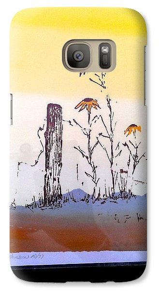 Galaxy Case featuring the painting Sunflower And Fence Post by Richard Benson