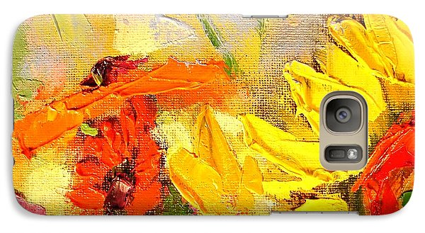 Galaxy Case featuring the painting Sunflower Detail by Ana Maria Edulescu