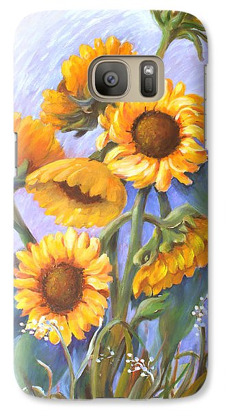 Galaxy Case featuring the painting Sunflower Family by Marta Styk