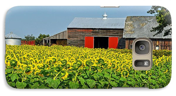 Galaxy Case featuring the photograph Sunflower Farm by Rodney Campbell