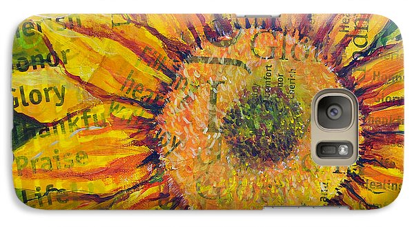 Galaxy Case featuring the painting Sunflower Glory by Lisa Fiedler Jaworski