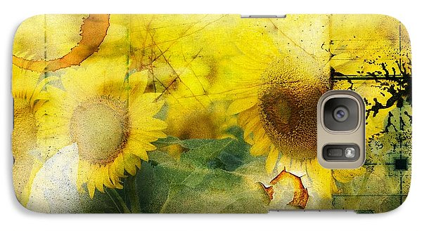 Galaxy Case featuring the photograph Sunflower Grunge by Kathy Churchman