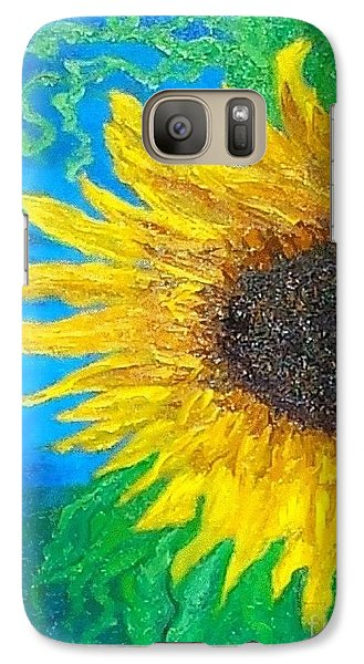 Galaxy Case featuring the painting Sunflower by Holly Martinson