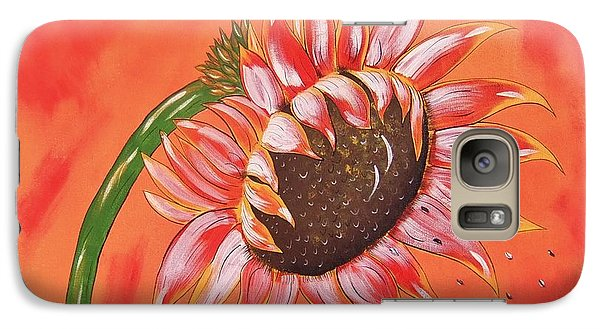 Galaxy Case featuring the painting Sunflower In Fall by Cindy Micklos