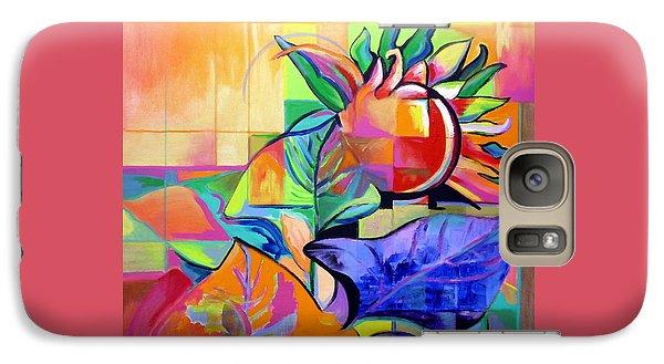 Galaxy Case featuring the painting Sunflower by Jodie Marie Anne Richardson Traugott          aka jm-ART