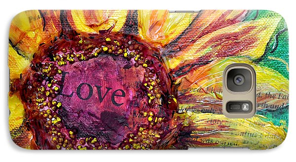 Galaxy Case featuring the painting Sunflower Love  by Lisa Fiedler Jaworski