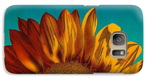 Galaxy Case featuring the drawing Sunflower by Meg Shearer