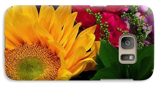 Galaxy Case featuring the photograph Sunflower Reflections by Meghan at FireBonnet Art