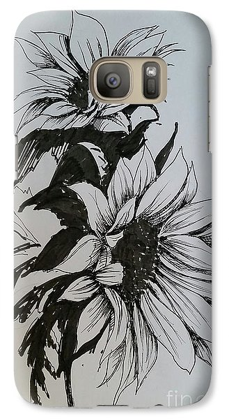Galaxy Case featuring the drawing Sunflower by Rose Wang