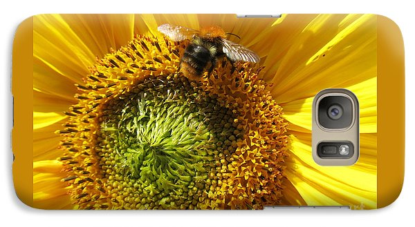 Galaxy Case featuring the photograph Sunflower With Bee by Jeepee Aero