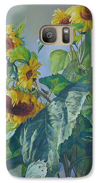 Galaxy Case featuring the painting Sunflowers After The Rain by Svitozar Nenyuk