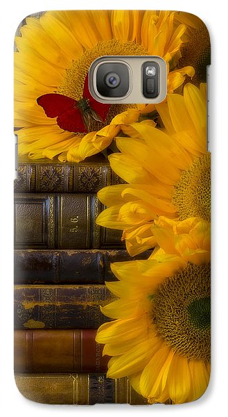 Sunflowers And Old Books Galaxy Case by Garry Gay