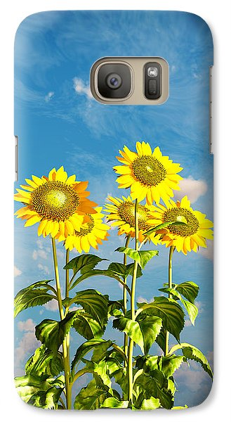 Galaxy Case featuring the digital art Sunflowers And The Sky... by Tim Fillingim