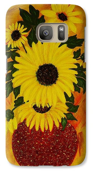 Galaxy Case featuring the painting Sunflowers by Celeste Manning