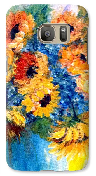 Galaxy Case featuring the painting Sunflowers In A Vase by Dorothy Maier