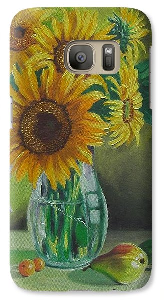 Galaxy Case featuring the painting Sunflowers In Glass Jug by Nina Mitkova