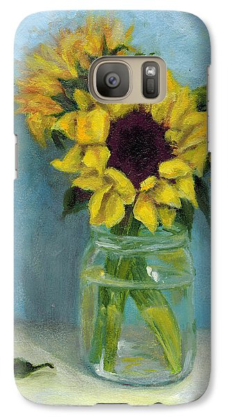 Galaxy Case featuring the painting Sunflowers In Mason Jar by Sandra Nardone