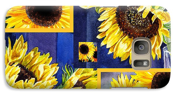 Galaxy Case featuring the painting Sunflowers Sunny Collage by Irina Sztukowski