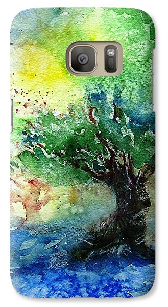 Galaxy Case featuring the painting Sunlit Olive Tree In Skiathos  by Trudi Doyle