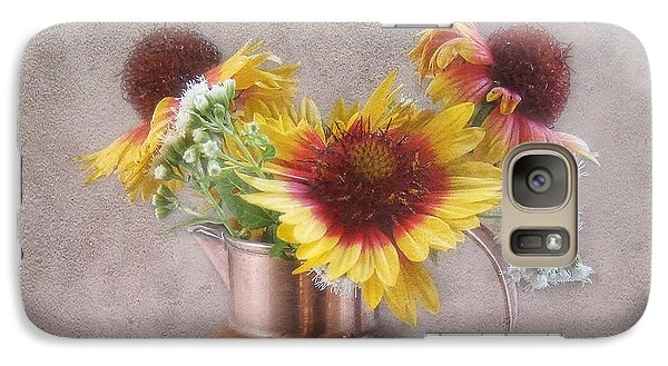 Galaxy Case featuring the photograph Sunny Treasure Flowers In A Copper Jug by Louise Kumpf