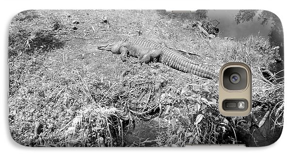 Galaxy Case featuring the photograph Sunny Gator Black And White by Joseph Baril