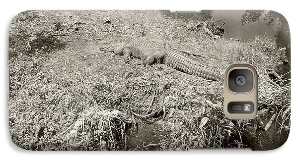 Galaxy Case featuring the photograph Sunny Gator Sepia  by Joseph Baril