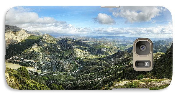 Galaxy Case featuring the photograph Sunny Mountains View With Picturesque Clouds by Julis Simo