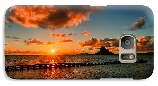 Galaxy Case featuring the pyrography Sunrise At Hawaii Chainaman's Hat by RC Pics