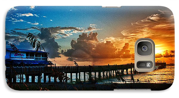 Galaxy Case featuring the photograph Sunrise At Lake Worth Pier by Don Durfee
