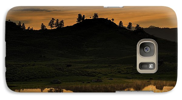 Galaxy Case featuring the photograph Sunrise Behind A Yellowstone Ridge by Bill Gabbert