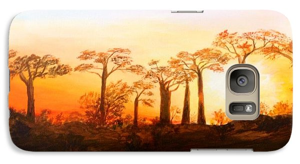 Galaxy Case featuring the painting Sunrise Boab Trees by Renate Voigt