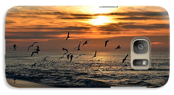 Galaxy Case featuring the photograph Sunrise Colors Over Navarre Beach With Flock Of Seagulls by Jeff at JSJ Photography