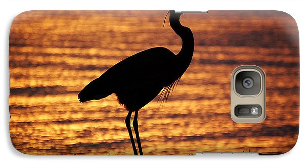 Galaxy Case featuring the photograph Sunrise Heron by Leticia Latocki