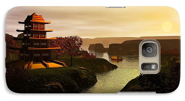 Galaxy Case featuring the digital art Sunrise In Japan by John Pangia