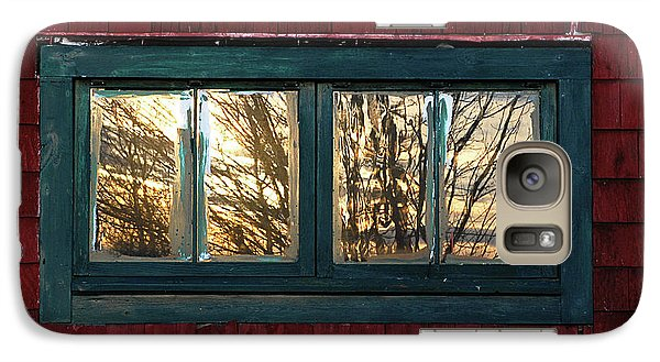 Galaxy Case featuring the photograph Sunrise In Old Barn Window by Susan Capuano