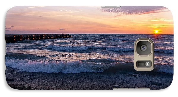 Galaxy Case featuring the photograph Sunrise Lake Michigan August 8th 2013 Wave Crash by Michael  Bennett