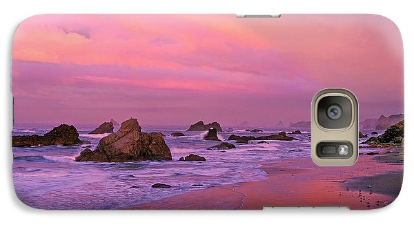 Galaxy Case featuring the photograph Sunrise On Sea Stacks Harris Sb Oregon by Dave Welling