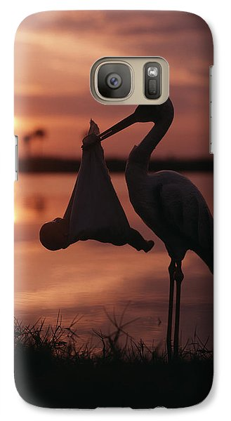 Sunrise Silhouette Of Stork Carrying Galaxy S7 Case