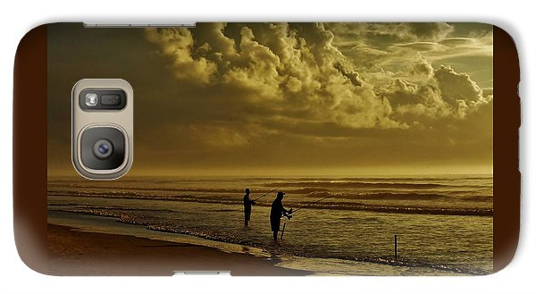 Galaxy Case featuring the photograph Sunrise Surf Fishing by Ed Sweeney