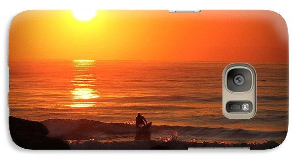 Galaxy Case featuring the digital art Sunrise Surfer by Phil Mancuso