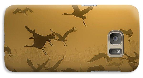 Crane Galaxy S7 Case - Sunrise With Cranes by Ronen Rosenblatt