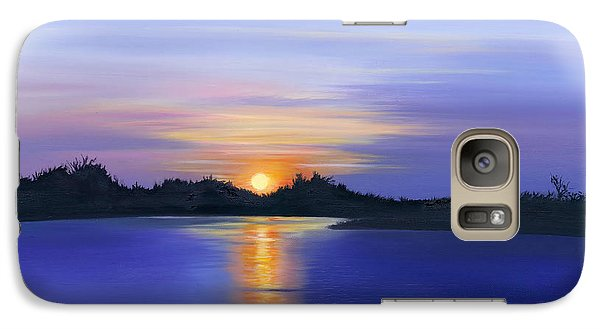 Galaxy Case featuring the painting Sunset Across The River by Elizabeth Lock