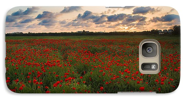 Galaxy Case featuring the photograph Sunset And Poppies by Meir Ezrachi